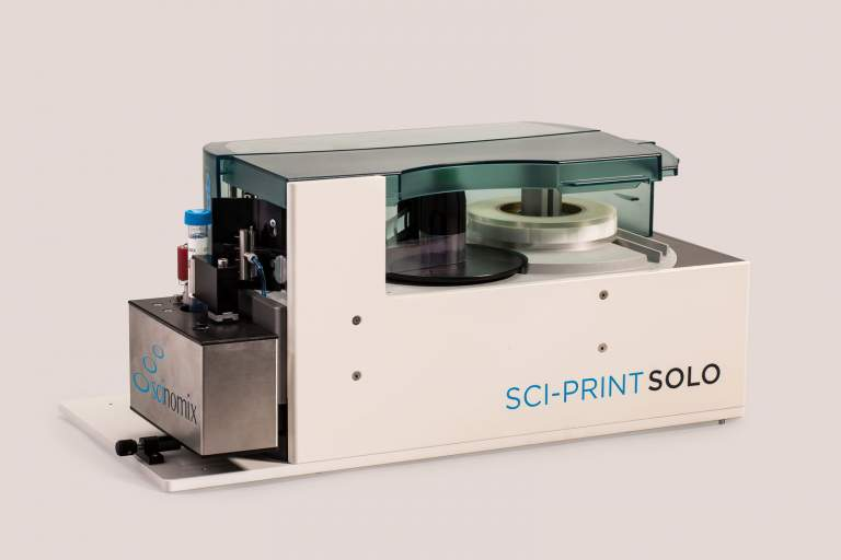 The Sci-Print SOLO is used for manual labeling of tubes ranging from 0.5 mL to 50 mL. The Sci-Print SOLO is commonly integrated into larger automated systems such as the Tecan EVO.